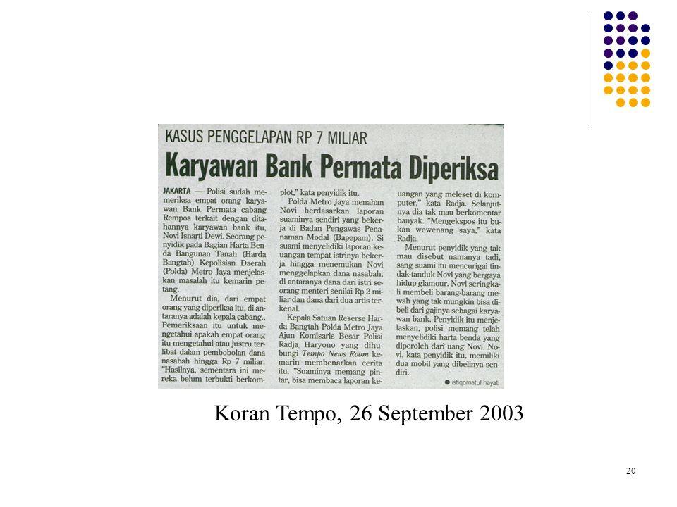 20 Koran Tempo, 26 September 2003