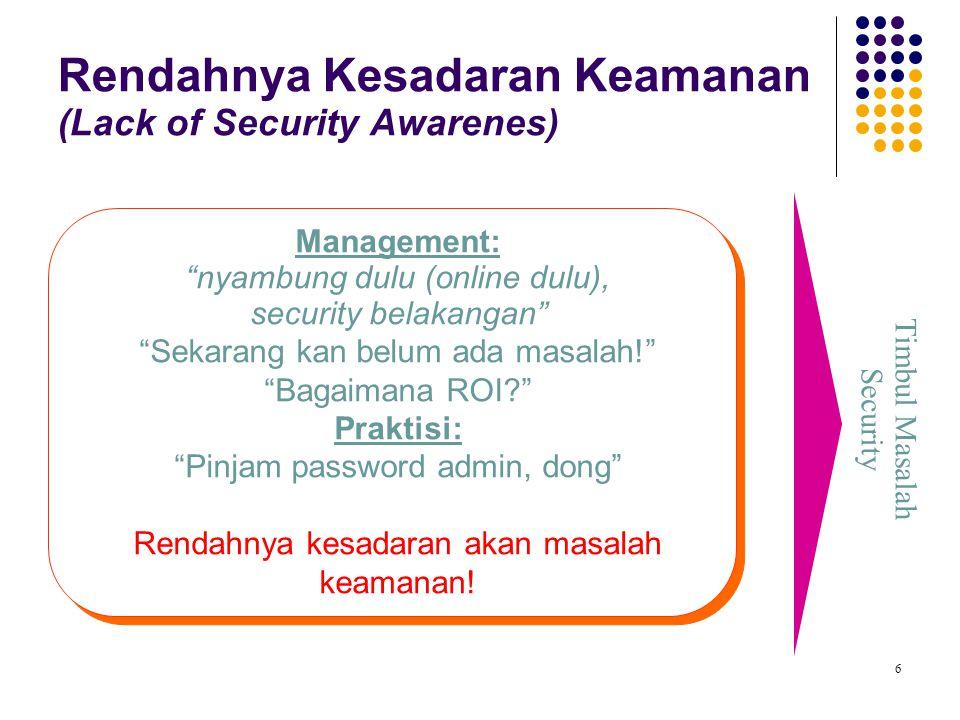 "6 Rendahnya Kesadaran Keamanan (Lack of Security Awarenes) Timbul Masalah Security Management: ""nyambung dulu (online dulu), security belakangan"" ""Sek"