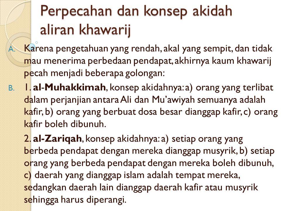 EKSISTENSI ALIRAN KHAWARIJ  Sejak masa kekhalifahan Usman, Ali sampai masa bani Umayyah dan Abbasiyah, bagi khawarij semuanya sama, bahwa mereka para