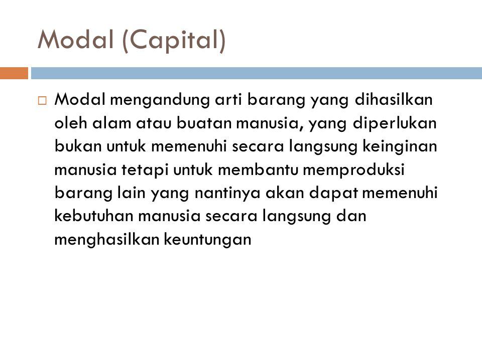 Modal (Capital)  Modal mengandung arti barang yang dihasilkan oleh alam atau buatan manusia, yang diperlukan bukan untuk memenuhi secara langsung keinginan manusia tetapi untuk membantu memproduksi barang lain yang nantinya akan dapat memenuhi kebutuhan manusia secara langsung dan menghasilkan keuntungan