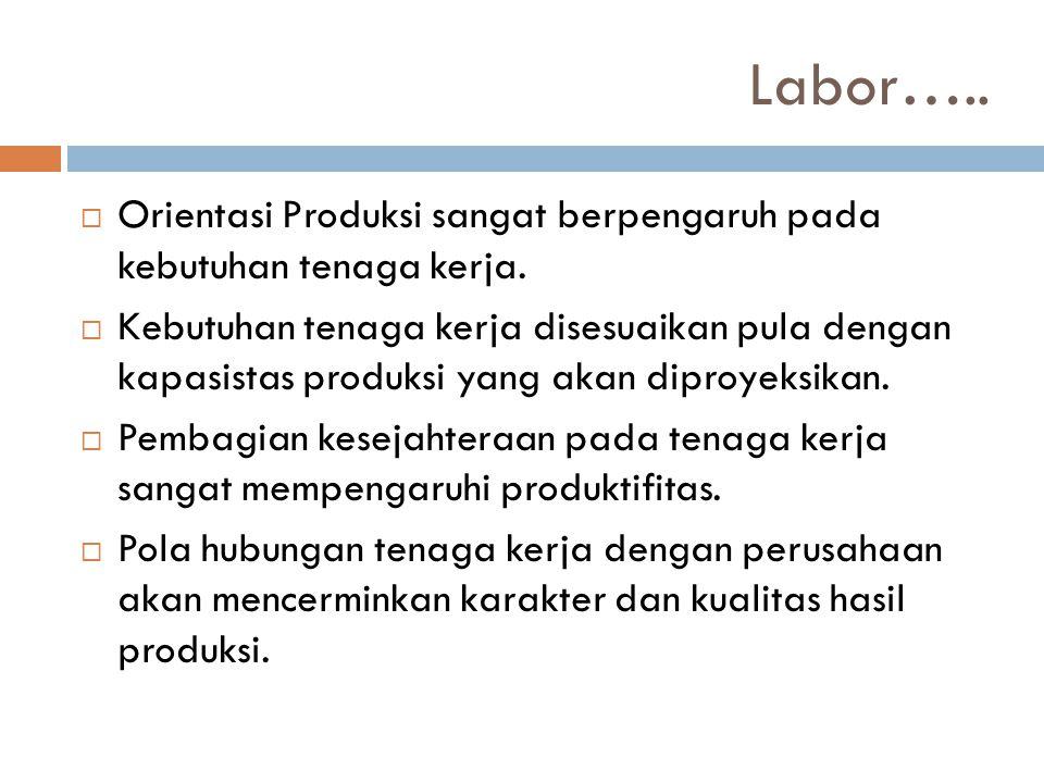 Labor…..  Orientasi Produksi sangat berpengaruh pada kebutuhan tenaga kerja.