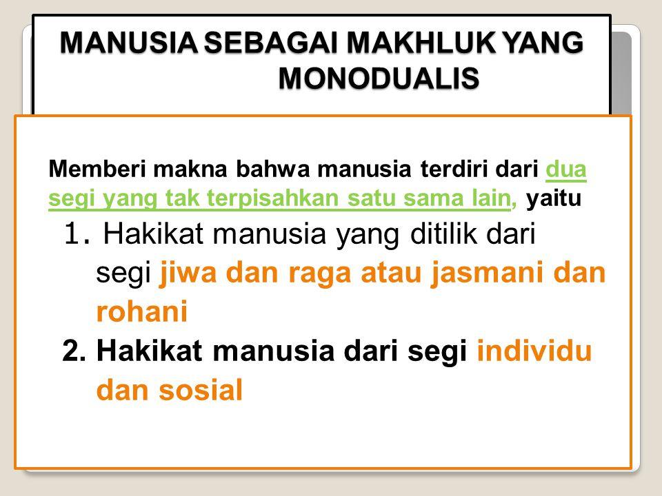1. MANUSIA SEBAGAI MAKHLUK YANG MONODUALIS 2. MANUSIA SEBAGAI MAKHLUK YANG MONOPLURALIS