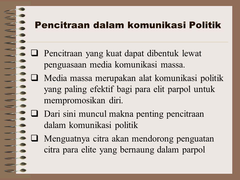 Pencitraan dalam komunikasi Politik  Pencitraan yang kuat dapat dibentuk lewat penguasaan media komunikasi massa.  Media massa merupakan alat komuni