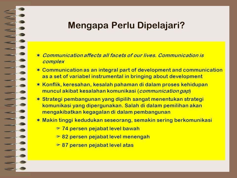 Mengapa Perlu Dipelajari?  Communication affects all facets of our lives. Communication is complex  Communication as an integral part of development