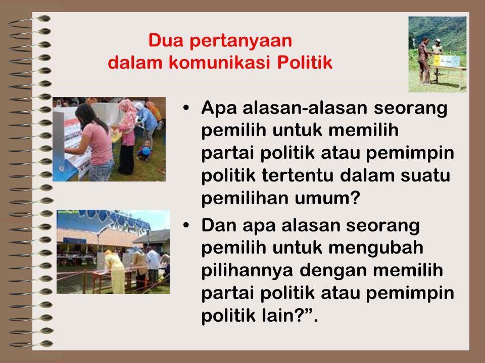 Dua pertanyaan dalam komunikasi Politik Apa alasan-alasan seorang pemilih untuk memilih partai politik atau pemimpin politik tertentu dalam suatu pemi