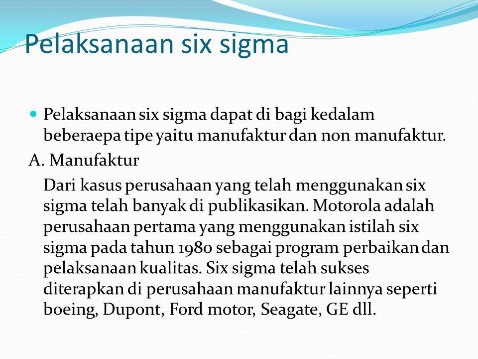 Pelaksanaan six sigma Pelaksanaan six sigma dapat di bagi kedalam beberaepa tipe yaitu manufaktur dan non manufaktur.