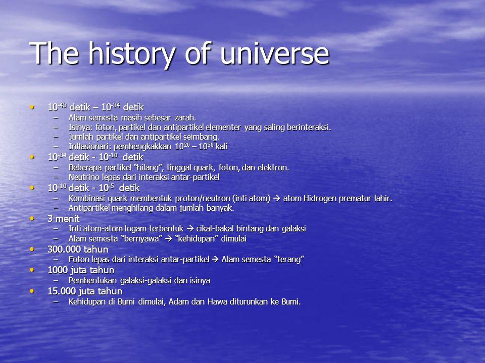 The history of universe 10 -43 detik – 10 -34 detik 10 -43 detik – 10 -34 detik –Alam semesta masih sebesar zarah. –Isinya: foton, partikel dan antipa