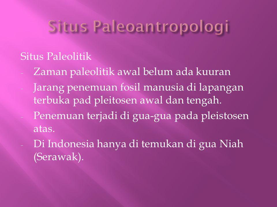 Situs Paleolitik - Zaman paleolitik awal belum ada kuuran - Jarang penemuan fosil manusia di lapangan terbuka pad pleitosen awal dan tengah.