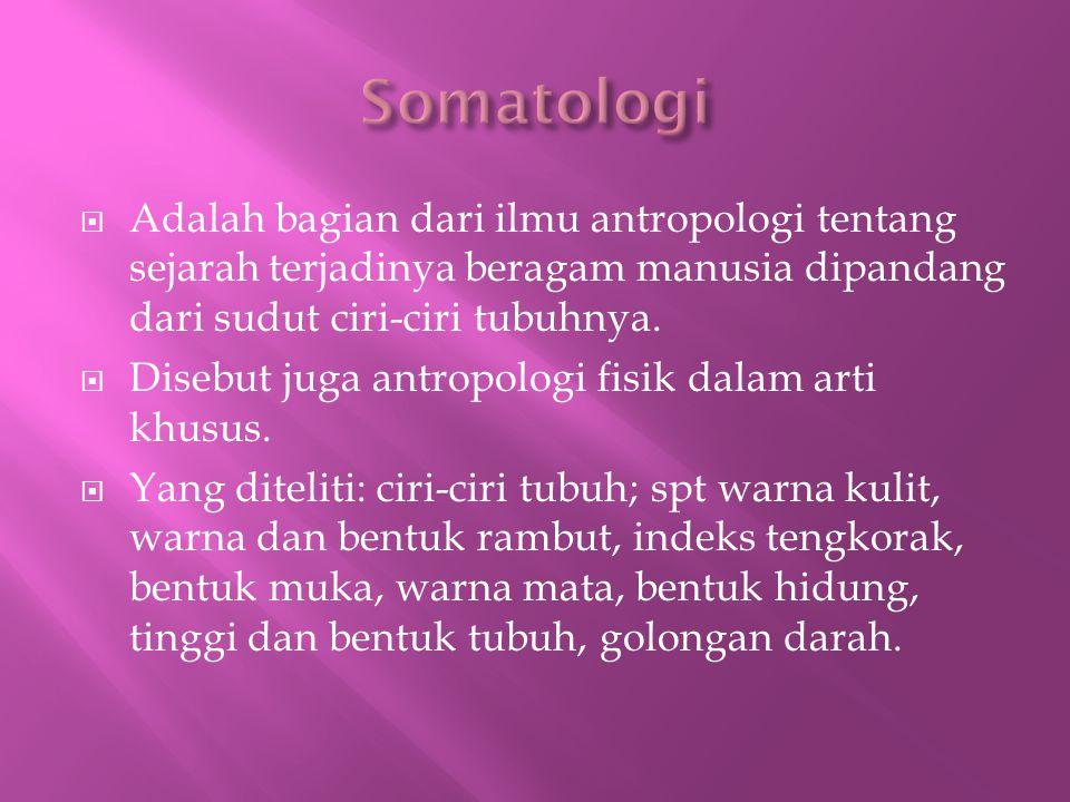  Adalah bagian dari ilmu antropologi tentang sejarah terjadinya beragam manusia dipandang dari sudut ciri-ciri tubuhnya.