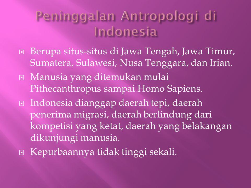  Berupa situs-situs di Jawa Tengah, Jawa Timur, Sumatera, Sulawesi, Nusa Tenggara, dan Irian.