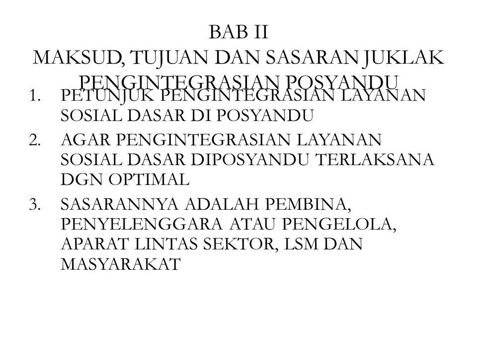 BAB II MAKSUD, TUJUAN DAN SASARAN JUKLAK PENGINTEGRASIAN POSYANDU 1.PETUNJUK PENGINTEGRASIAN LAYANAN SOSIAL DASAR DI POSYANDU 2.AGAR PENGINTEGRASIAN L