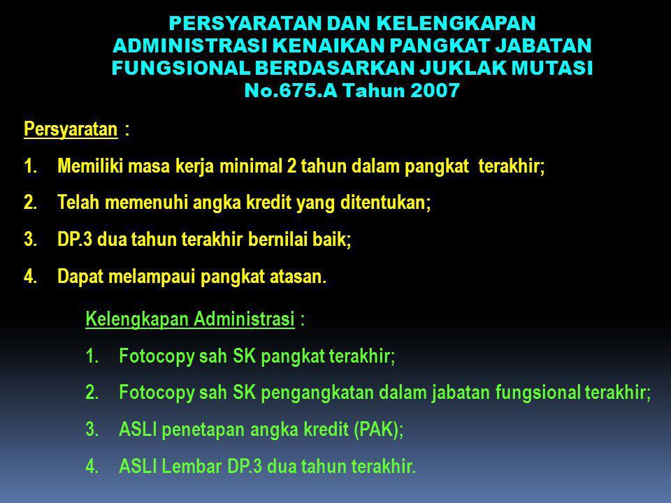 PERSYARATAN DAN KELENGKAPAN ADMINISTRASI KENAIKAN PANGKAT JABATAN FUNGSIONAL BERDASARKAN JUKLAK MUTASI No.675.A Tahun 2007 Persyaratan : 1.Memiliki ma