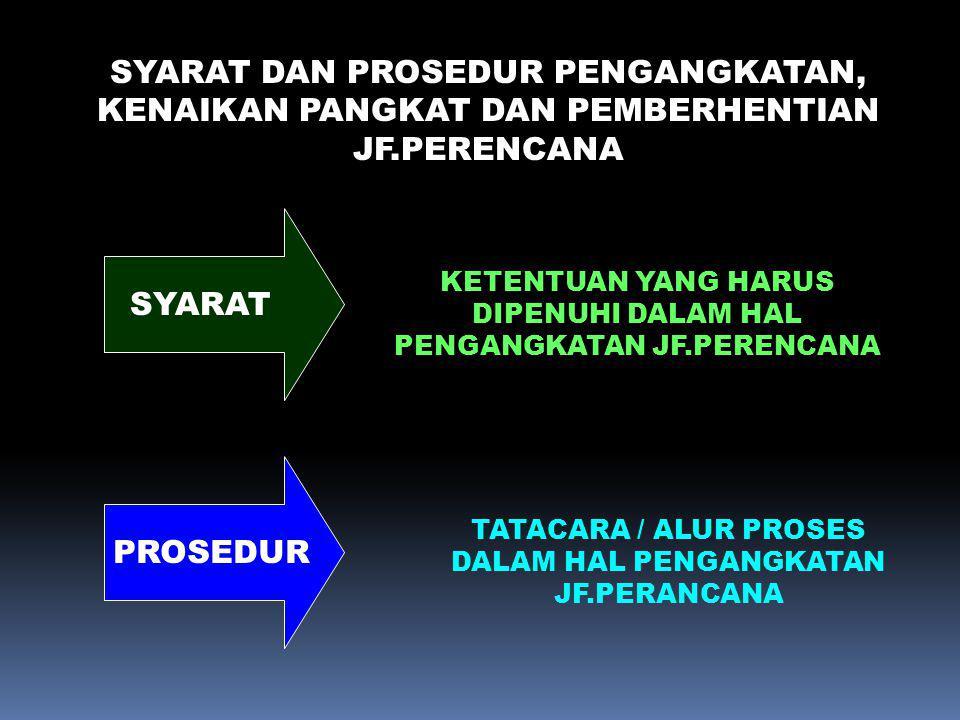 PROSEDUR PEMBEBASAN SEMENTARA JF.PERENCANA KARENA SEBAB LAIN : BERDASARKAN DOKUMEN YG MENYATAKAN BAHWA PEJABAT JFP : 1.DIJATUHI HUKDIS TK.SEDANG / BERAT; 2.DIBERHENTIKAN SEMENTARA SEBAGAI PNS; 3.TDK DAPAT MELAKSANAKAN TUGAS SECARA PENUH SBG PERENCANA; PIMPINAN UNIT KEPEGAWAIAN MENYIAPKAN USULAN PEMBEBASAN SEMENTARA PERENCANA KEPADA PEJABAT YG BERWENANG MENGANGKAT, MEMINDAHKAN DAN MEMBERHENTIKAN BERDASARKAN KMA.492/2003 ASLI SK.Pemberhentian Sementara JFP yg ditetapkan oleh Pejabat yg berwenang berdasarkan KMA.492/2003 disampaikan kepada : 1.Kepala BKN, Jakarta; 2.Kepala Bapennas cq.
