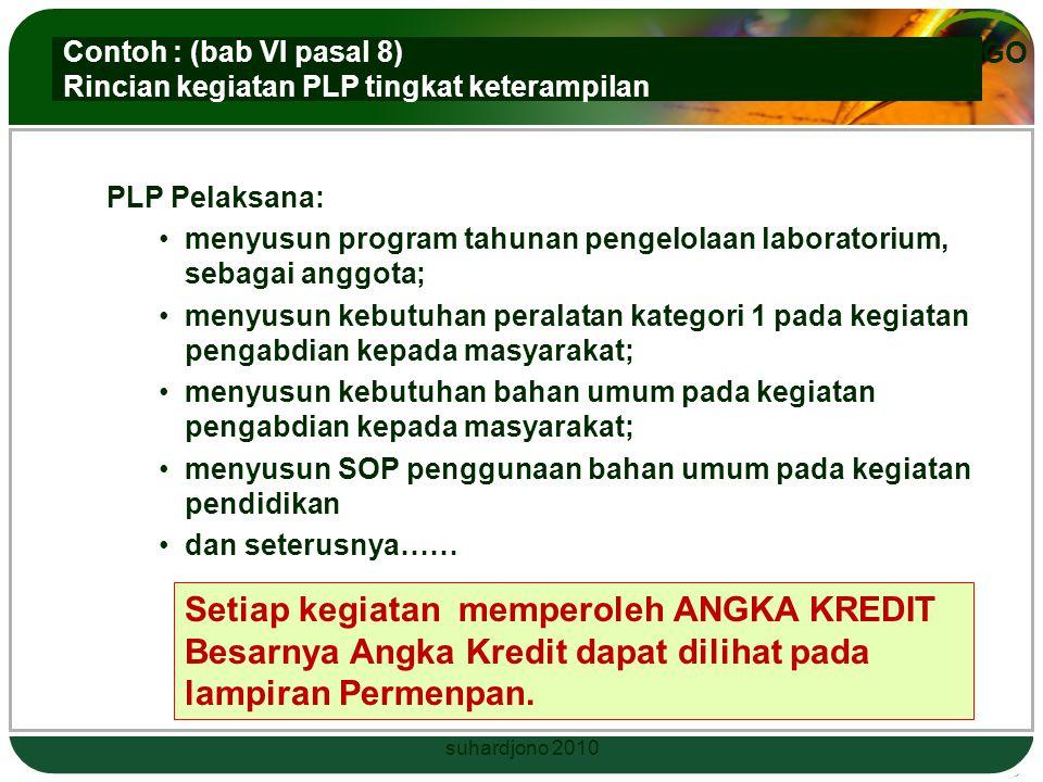 LOGO Rincian Kegiatan dan Unsur yang dinilai dalam memberikan angka kredit Permenpan 03 /2010 Bab VI pasal 8 suhardjono 2010