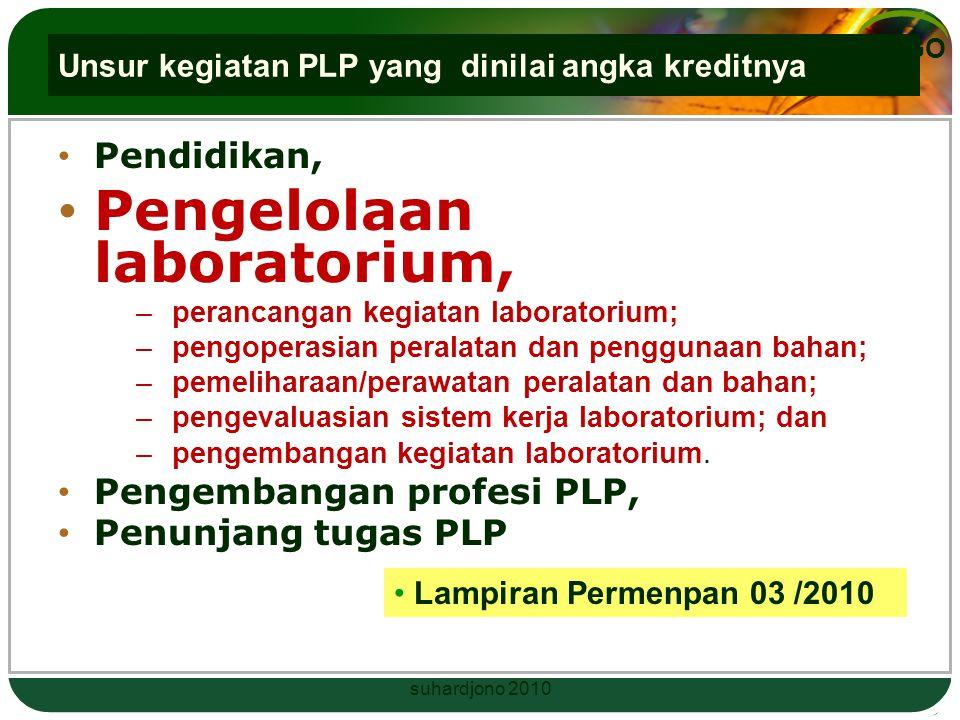 LOGO Contoh : (bab VI pasal 8) Rincian kegiatan PLP tingkat keterampilan PLP Pelaksana: menyusun program tahunan pengelolaan laboratorium, sebagai ang