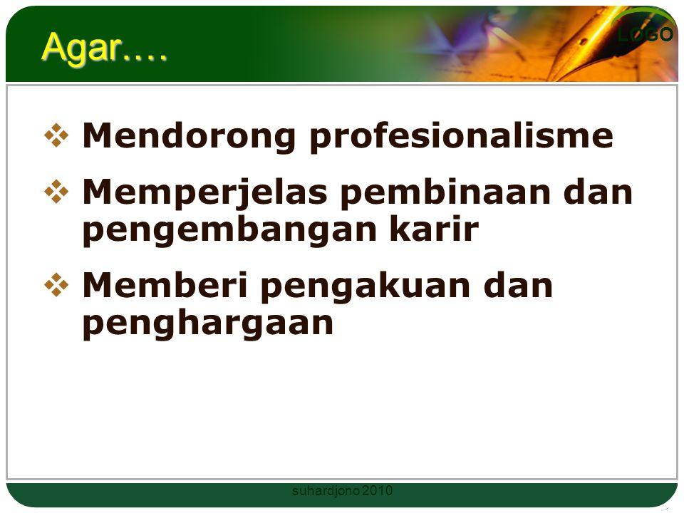 LOGO Agar.…  Mendorong profesionalisme  Memperjelas pembinaan dan pengembangan karir  Memberi pengakuan dan penghargaan suhardjono 2010