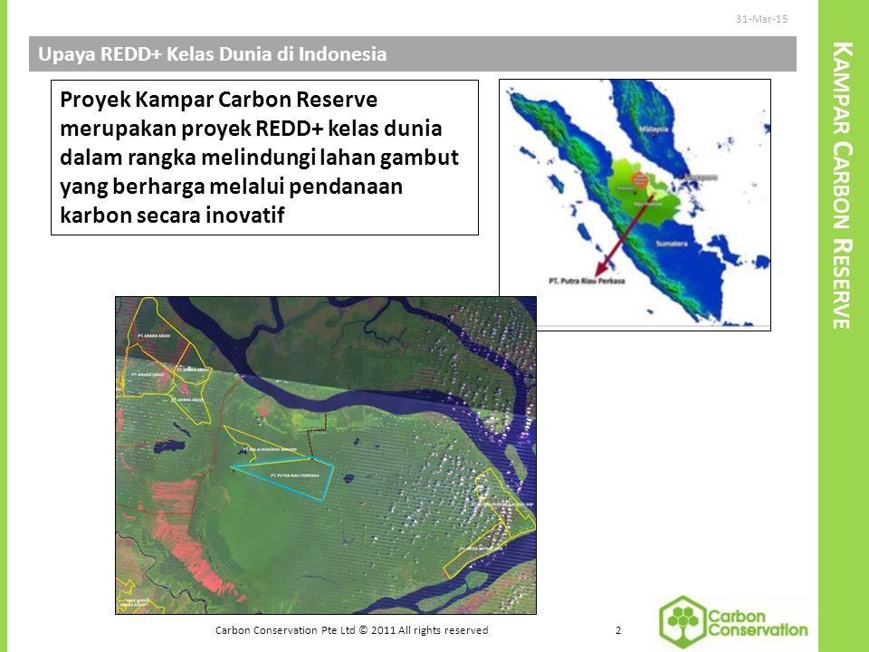 K AMPAR C ARBON R ESERVE Upaya REDD+ Kelas Dunia di Indonesia 31-Mar-15 2 Carbon Conservation Pte Ltd © 2011 All rights reserved Proyek Kampar Carbon Reserve merupakan proyek REDD+ kelas dunia dalam rangka melindungi lahan gambut yang berharga melalui pendanaan karbon secara inovatif