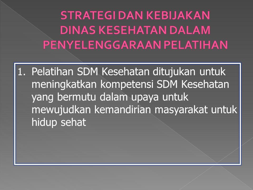 1. Pelatihan SDM Kesehatan ditujukan untuk meningkatkan kompetensi SDM Kesehatan yang bermutu dalam upaya untuk mewujudkan kemandirian masyarakat untu