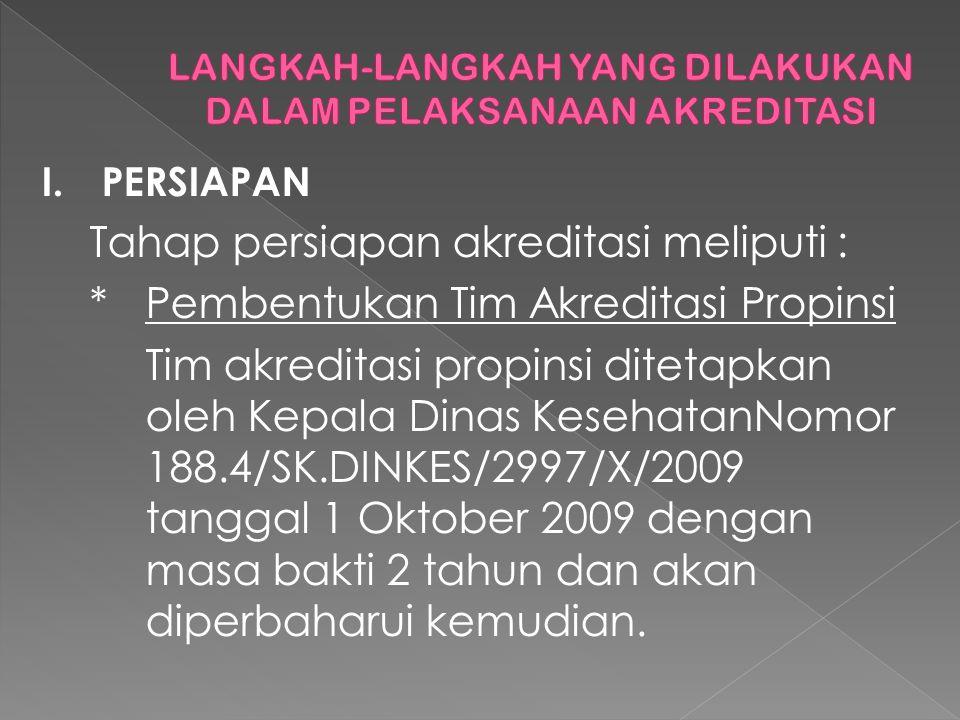 I.PERSIAPAN Tahap persiapan akreditasi meliputi : *Pembentukan Tim Akreditasi Propinsi Tim akreditasi propinsi ditetapkan oleh Kepala Dinas KesehatanNomor 188.4/SK.DINKES/2997/X/2009 tanggal 1 Oktober 2009 dengan masa bakti 2 tahun dan akan diperbaharui kemudian.