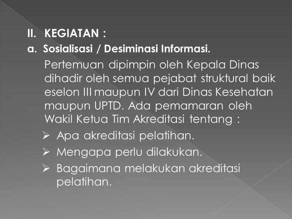 II.KEGIATAN : a. Sosialisasi / Desiminasi Informasi.
