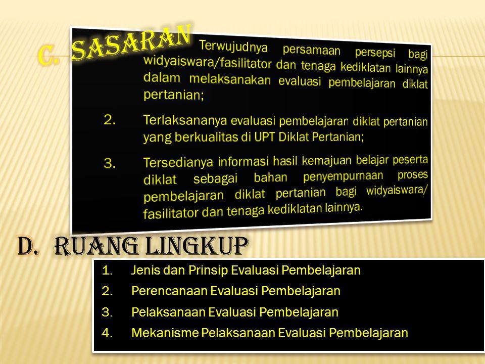 1. Jenis dan Prinsip Evaluasi Pembelajaran 2. Perencanaan Evaluasi Pembelajaran 3.Pelaksanaan Evaluasi Pembelajaran 4. Mekanisme Pelaksanaan Evaluasi