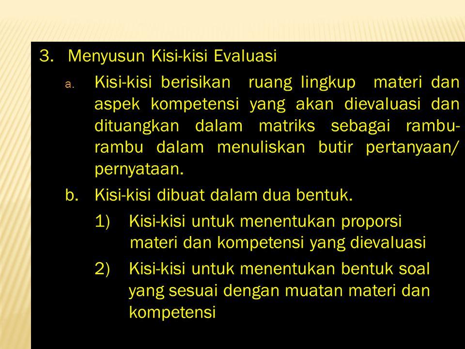 3. Menyusun Kisi-kisi Evaluasi a. Kisi-kisi berisikan ruang lingkup materi dan aspek kompetensi yang akan dievaluasi dan dituangkan dalam matriks seba