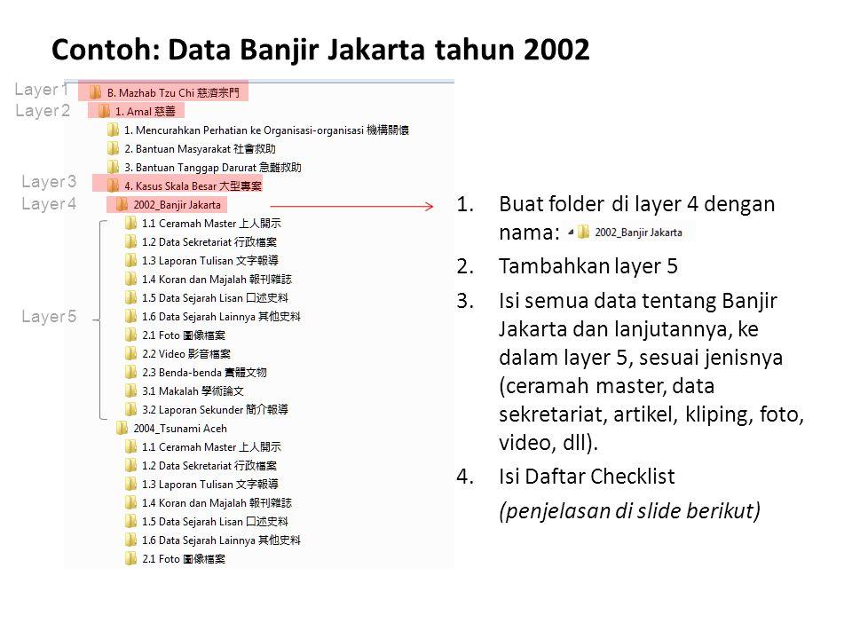 Contoh: Data Banjir Jakarta tahun 2002 1.Buat folder di layer 4 dengan nama: 2.Tambahkan layer 5 3.Isi semua data tentang Banjir Jakarta dan lanjutann