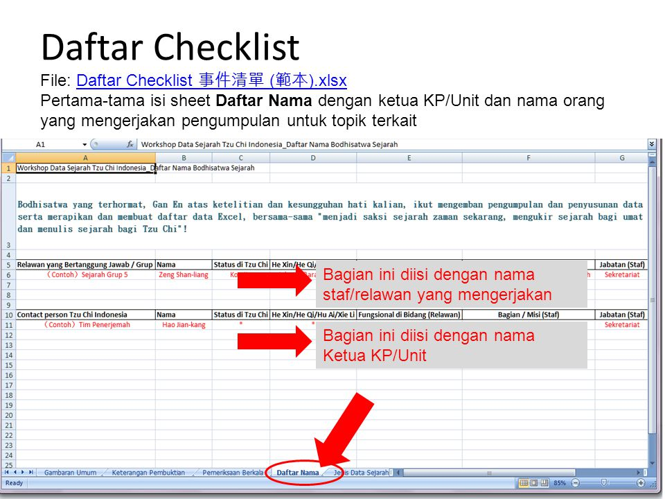 Daftar Checklist File: Daftar Checklist 事件清單 ( 範本 ).xlsxDaftar Checklist 事件清單 ( 範本 ).xlsx Pertama-tama isi sheet Daftar Nama dengan ketua KP/Unit dan