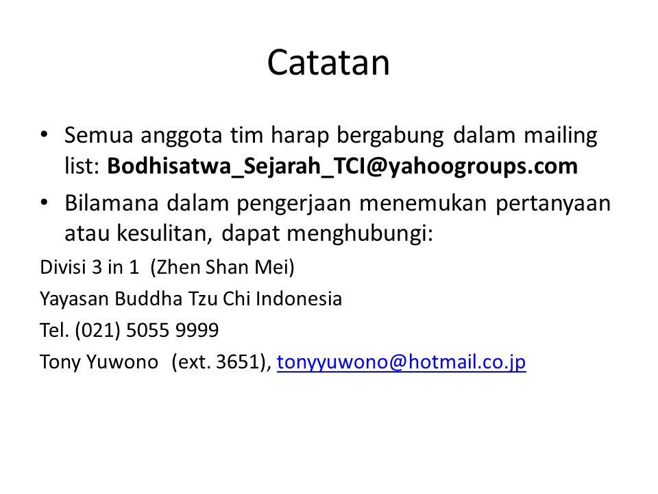 Catatan Semua anggota tim harap bergabung dalam mailing list: Bodhisatwa_Sejarah_TCI@yahoogroups.com Bilamana dalam pengerjaan menemukan pertanyaan at