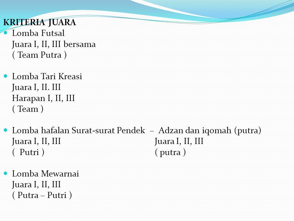 KRITERIA JUARA Lomba Futsal Juara I, II, III bersama ( Team Putra ) Lomba Tari Kreasi Juara I, II. III Harapan I, II, III ( Team ) Lomba hafalan Surat