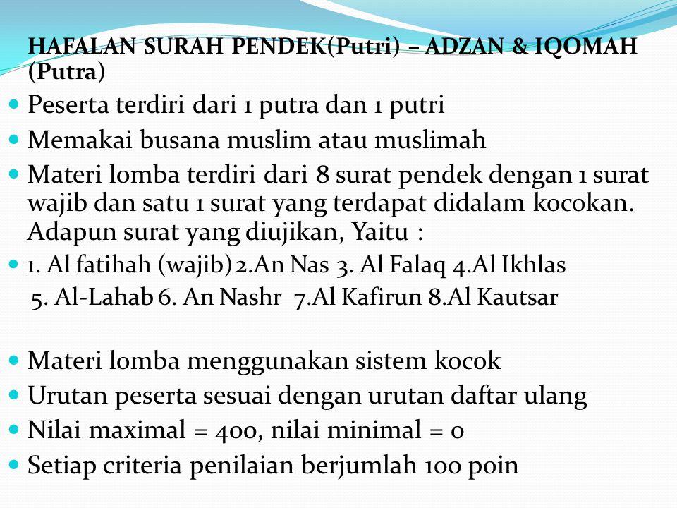 HAFALAN SURAH PENDEK(Putri) – ADZAN & IQOMAH (Putra) Peserta terdiri dari 1 putra dan 1 putri Memakai busana muslim atau muslimah Materi lomba terdiri
