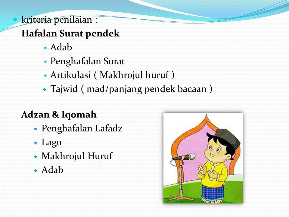 kriteria penilaian : Hafalan Surat pendek Adab Penghafalan Surat Artikulasi ( Makhrojul huruf ) Tajwid ( mad/panjang pendek bacaan ) Adzan & Iqomah Pe