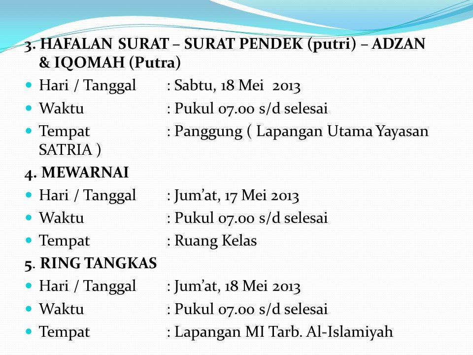 3. HAFALAN SURAT – SURAT PENDEK (putri) – ADZAN & IQOMAH (Putra) Hari / Tanggal: Sabtu, 18 Mei 2013 Waktu: Pukul 07.00 s/d selesai Tempat : Panggung (