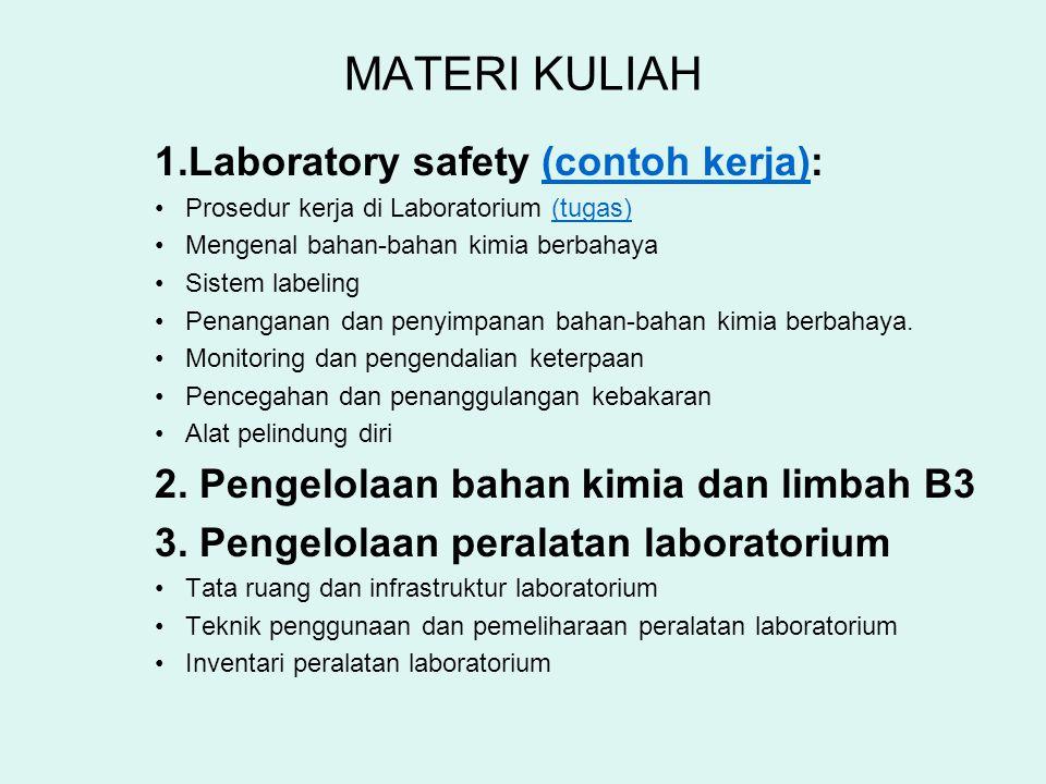 MATERI KULIAH 1.Laboratory safety (contoh kerja):(contoh kerja) Prosedur kerja di Laboratorium (tugas)(tugas) Mengenal bahan-bahan kimia berbahaya Sis