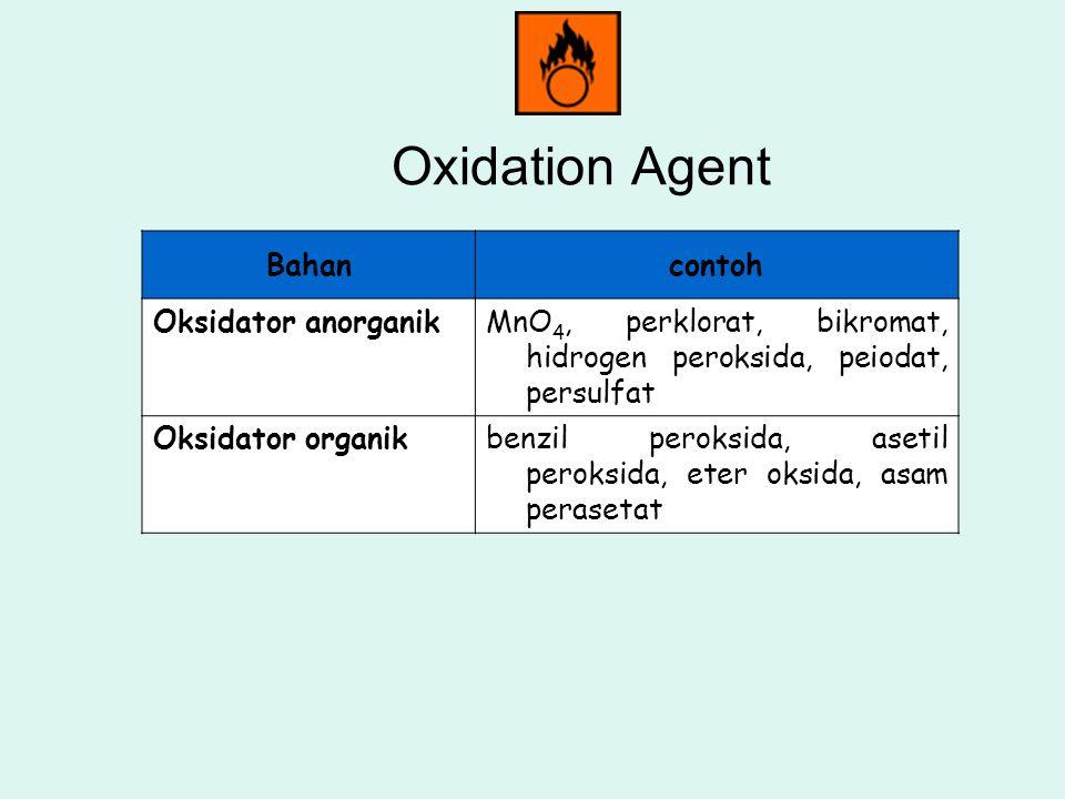 Oxidation Agent Bahancontoh Oksidator anorganikMnO 4, perklorat, bikromat, hidrogen peroksida, peiodat, persulfat Oksidator organikbenzil peroksida, a