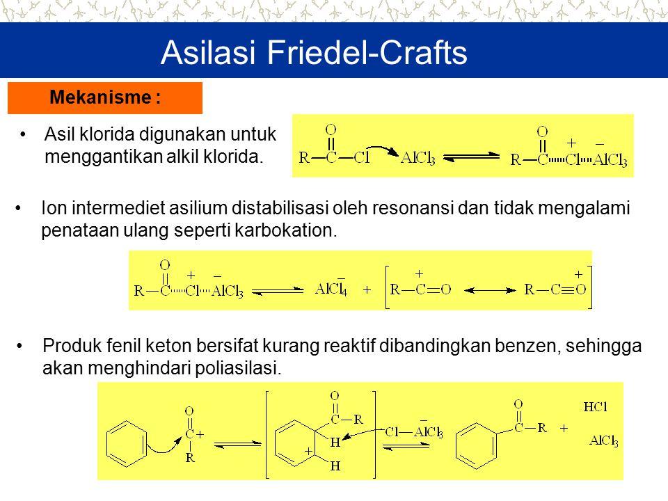 Asilasi Friedel-Crafts Asil klorida digunakan untuk menggantikan alkil klorida. Mekanisme : Ion intermediet asilium distabilisasi oleh resonansi dan t