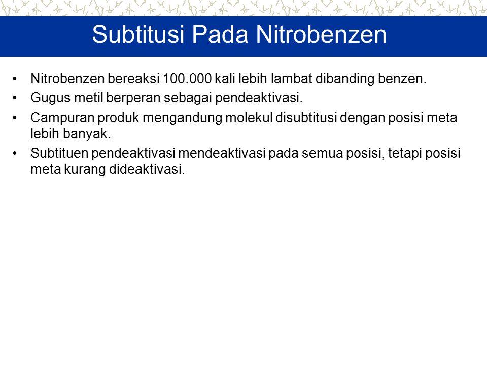 Subtitusi Pada Nitrobenzen Nitrobenzen bereaksi 100.000 kali lebih lambat dibanding benzen. Gugus metil berperan sebagai pendeaktivasi. Campuran produ
