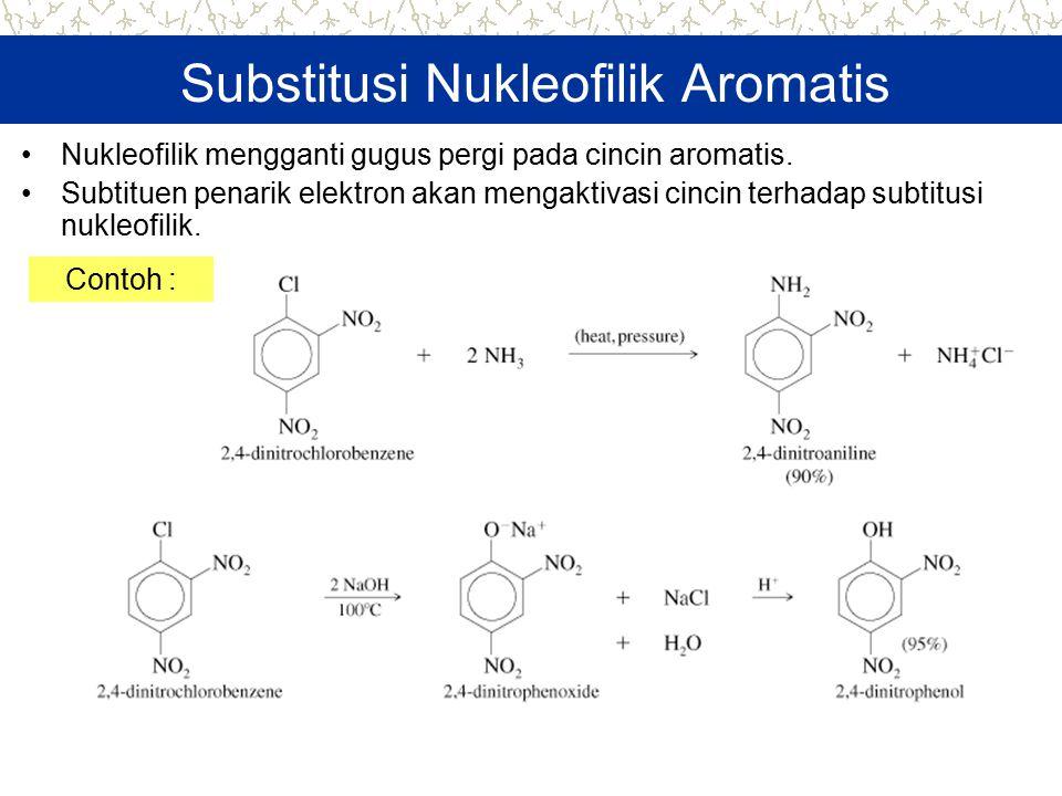 Substitusi Nukleofilik Aromatis Nukleofilik mengganti gugus pergi pada cincin aromatis. Subtituen penarik elektron akan mengaktivasi cincin terhadap s