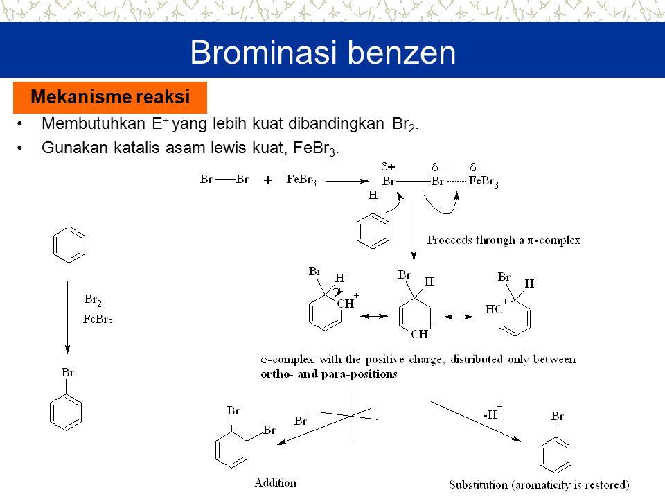 Brominasi benzen Membutuhkan E + yang lebih kuat dibandingkan Br 2. Gunakan katalis asam lewis kuat, FeBr 3. Mekanisme reaksi