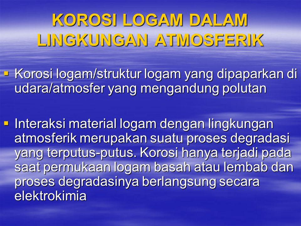 KOROSI LOGAM DALAM LINGKUNGAN ATMOSFERIK  Korosi logam/struktur logam yang dipaparkan di udara/atmosfer yang mengandung polutan  Interaksi material