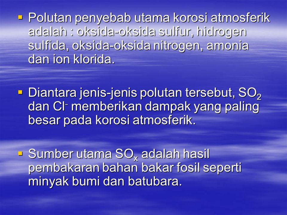  Polutan penyebab utama korosi atmosferik adalah : oksida-oksida sulfur, hidrogen sulfida, oksida-oksida nitrogen, amonia dan ion klorida.  Diantara