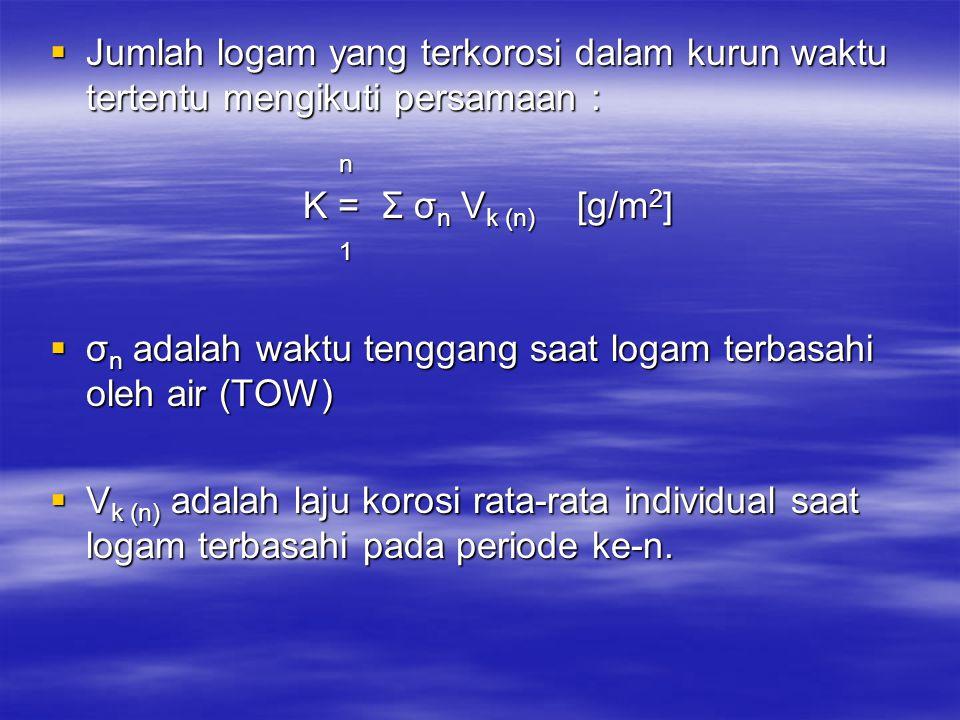  Jumlah logam yang terkorosi dalam kurun waktu tertentu mengikuti persamaan : n K = Σ σ n V k (n) [g/m 2 ] 1  σ n adalah waktu tenggang saat logam t