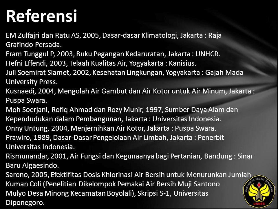 Referensi EM Zulfajri dan Ratu AS, 2005, Dasar-dasar Klimatologi, Jakarta : Raja Grafindo Persada.