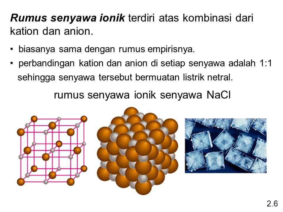 Rumus senyawa ionik terdiri atas kombinasi dari kation dan anion. biasanya sama dengan rumus empirisnya. perbandingan kation dan anion di setiap senya