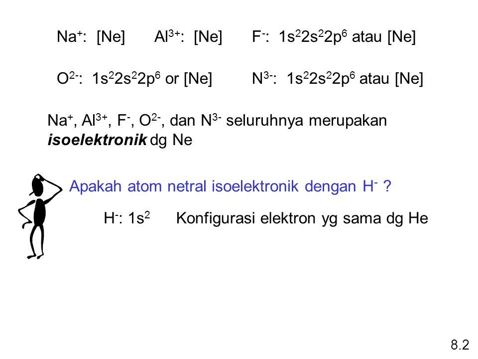 Na + : [Ne]Al 3+ : [Ne]F - : 1s 2 2s 2 2p 6 atau [Ne] O 2- : 1s 2 2s 2 2p 6 or [Ne]N 3- : 1s 2 2s 2 2p 6 atau [Ne] Na +, Al 3+, F -, O 2-, dan N 3- seluruhnya merupakan isoelektronik dg Ne Apakah atom netral isoelektronik dengan H - .