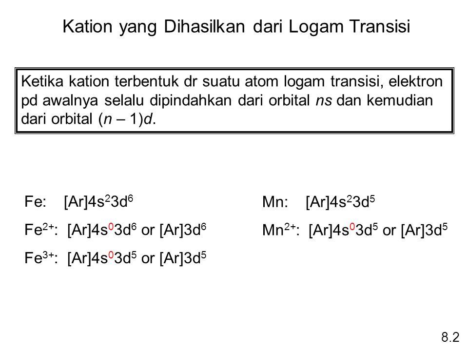 Kation yang Dihasilkan dari Logam Transisi 8.2 Ketika kation terbentuk dr suatu atom logam transisi, elektron pd awalnya selalu dipindahkan dari orbit