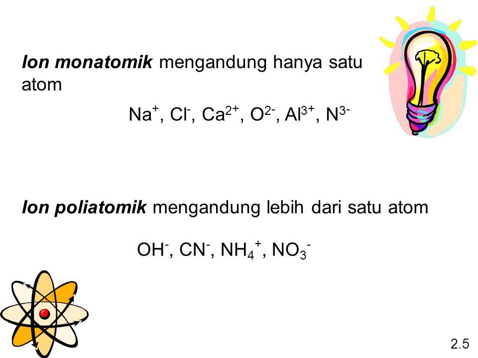 Ion monatomik mengandung hanya satu atom Ion poliatomik mengandung lebih dari satu atom 2.5 Na +, Cl -, Ca 2 +, O 2 -, Al 3 +, N 3 - OH -, CN -, NH 4