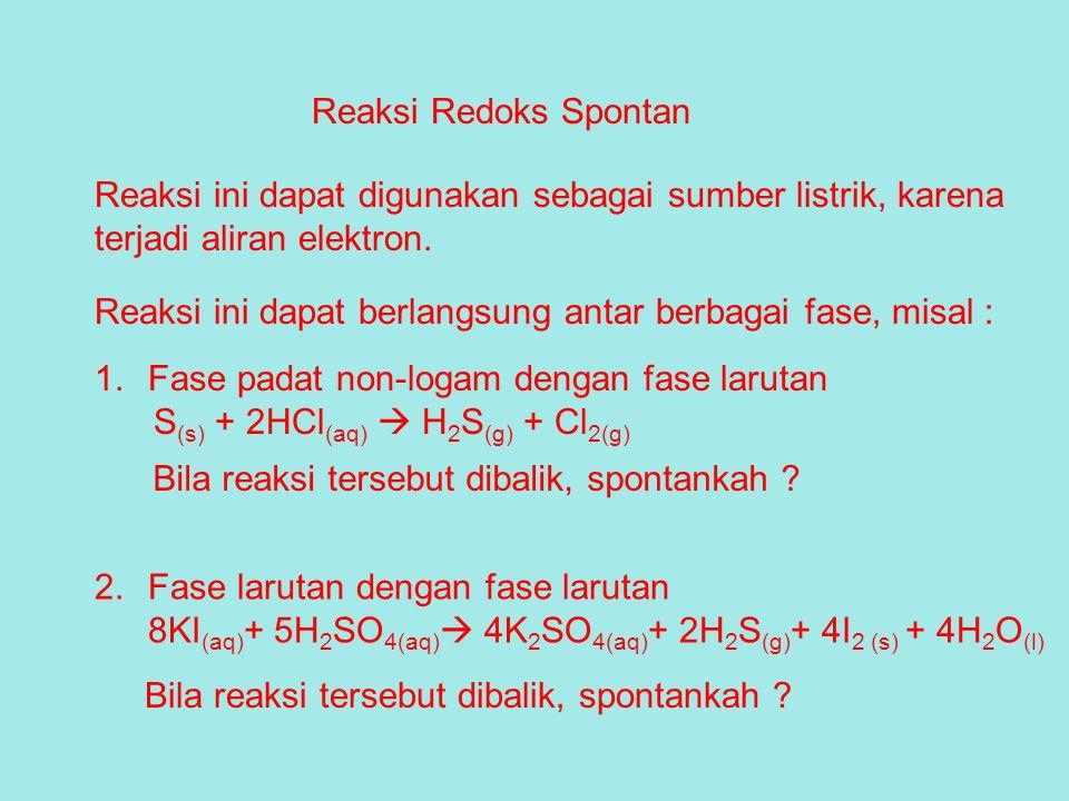 Reaksi Redoks Spontan Reaksi ini dapat digunakan sebagai sumber listrik, karena terjadi aliran elektron. Reaksi ini dapat berlangsung antar berbagai f