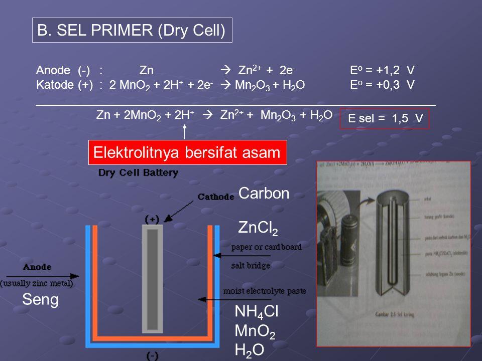 B. SEL PRIMER (Dry Cell) Anode (-): Zn  Zn 2+ + 2e - E o = +1,2 V Katode (+) : 2 MnO 2 + 2H + + 2e -  Mn 2 O 3 + H 2 O E o = +0,3 V ________________