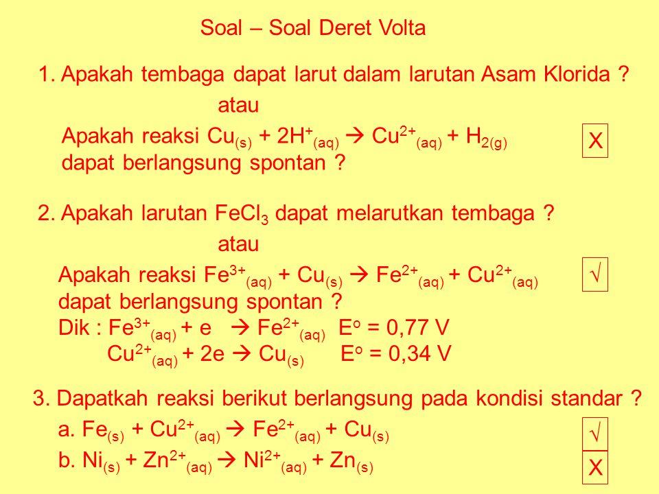 Soal – Soal Deret Volta 1. Apakah tembaga dapat larut dalam larutan Asam Klorida ? Apakah reaksi Cu (s) + 2H + (aq)  Cu 2+ (aq) + H 2(g) dapat berlan